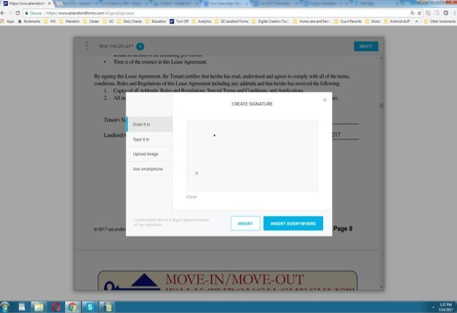 placing your eSignature on your rental lease contract